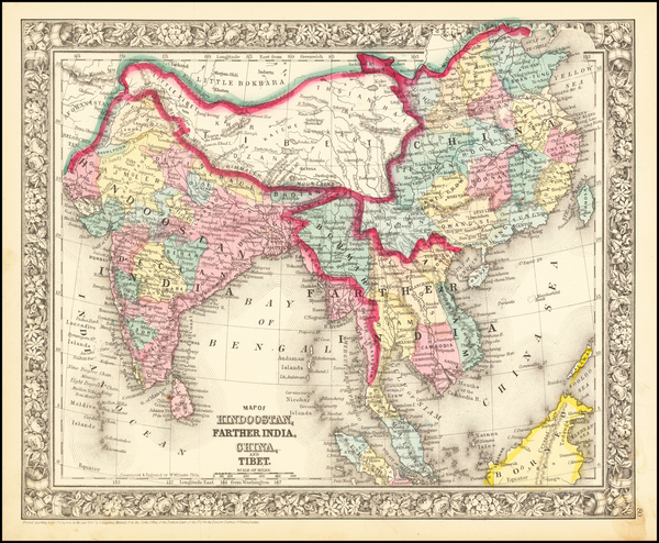 92-India, Southeast Asia, Malaysia and Thailand, Cambodia, Vietnam Map By Samuel Augustus Mitchell