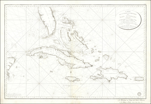 57-Florida, Cuba, Jamaica, Hispaniola, Puerto Rico and Bahamas Map By Depot de la Guerre