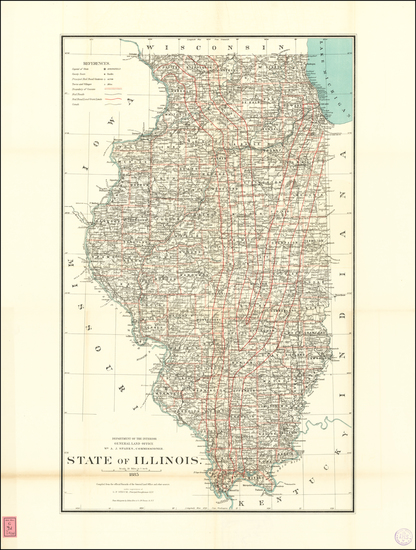 65-Illinois Map By U.S. General Land Office