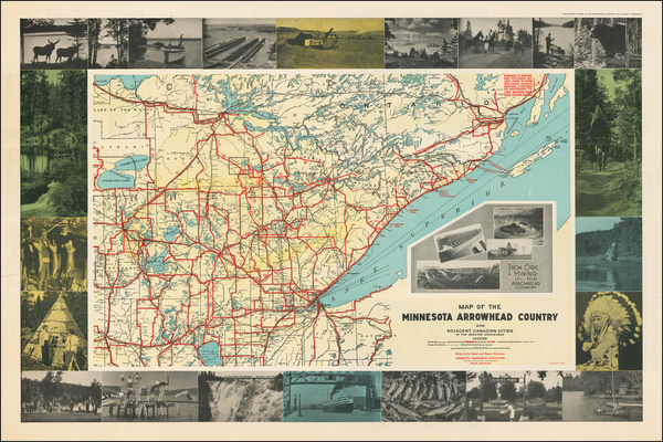 91-Minnesota and Pictorial Maps Map By Minnesota Arrowhead Association