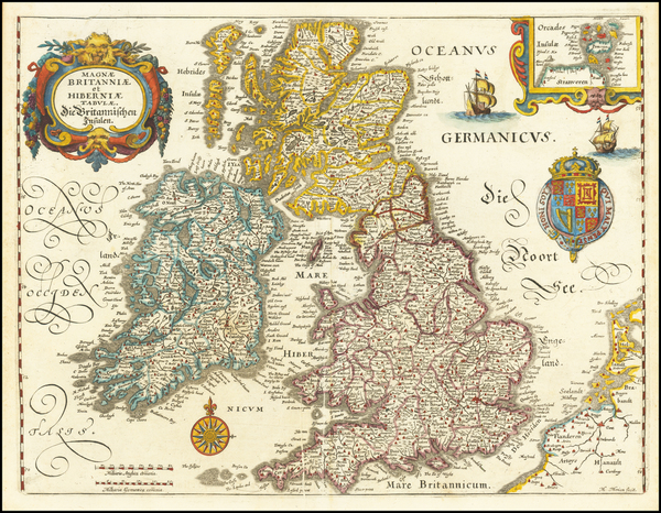 82-British Isles Map By Matthaus Merian