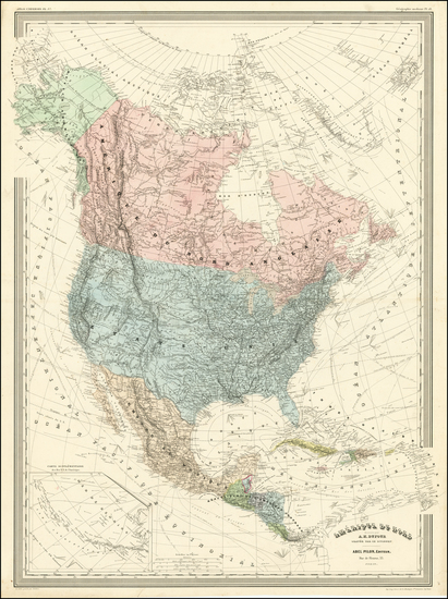 44-North America Map By Adolphe Hippolyte Dufour