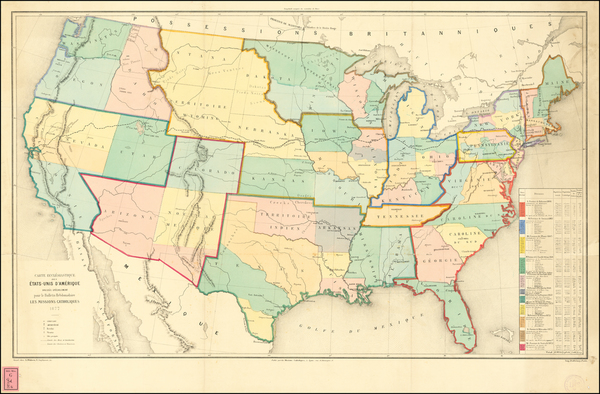 96-United States Map By Dufrenoy