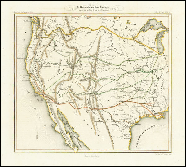 33-Texas, Plains, Southwest, Utah, Rocky Mountains, Utah and California Map By Ernst & Korn