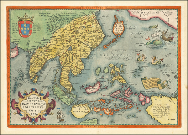 China, Japan, India, Southeast Asia, Philippines, Indonesia, Malaysia and California Map By Abraham Ortelius