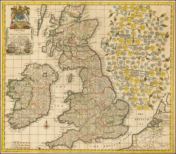 3-British Isles, England, Scotland and Ireland Map By Robert Morden / Philip Lea / John Seller