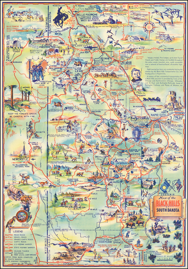 4-South Dakota and Pictorial Maps Map By K. Pyle