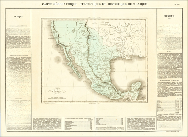 44-Texas, Southwest, Rocky Mountains, Mexico and California Map By Jean Alexandre Buchon