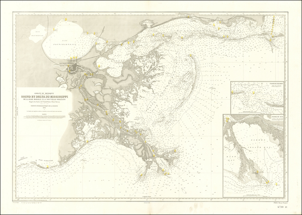 30-Louisiana, Alabama and Mississippi Map By Service Hydrographique dela Marine