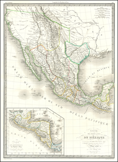 54-Texas, Southwest, Rocky Mountains and California Map By Alexandre Emile Lapie