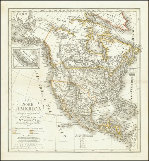 62-North America Map By Carl Ferdinand Weiland