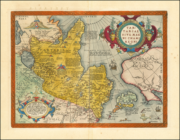 43-Pacific Northwest, Alaska, China, Japan, Russia in Asia and California Map By Abraham Ortelius