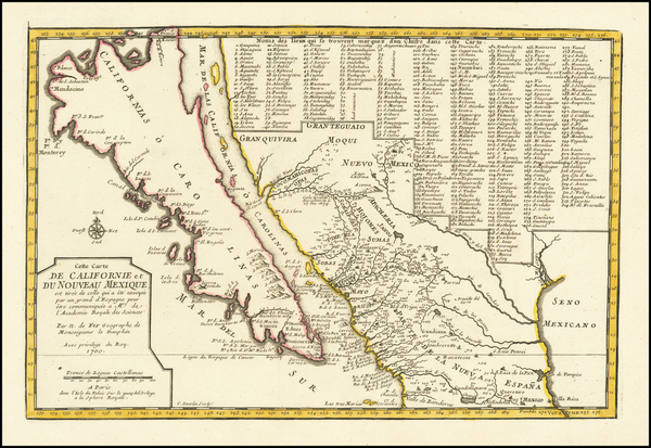 35-Baja California, California and California as an Island Map By Nicolas de Fer