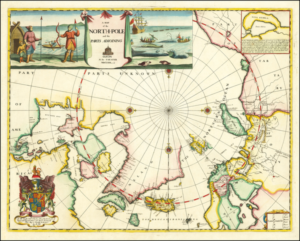46-Polar Maps, Canada, Russia and Scandinavia Map By Moses Pitt
