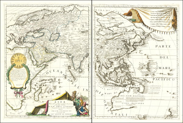 66-Asia and Asia Map By Vincenzo Maria Coronelli