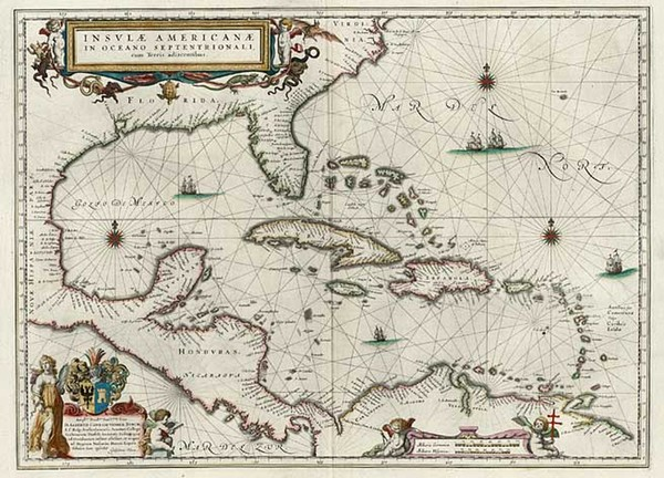 94-South, Southeast, Caribbean and Central America Map By Willem Janszoon Blaeu