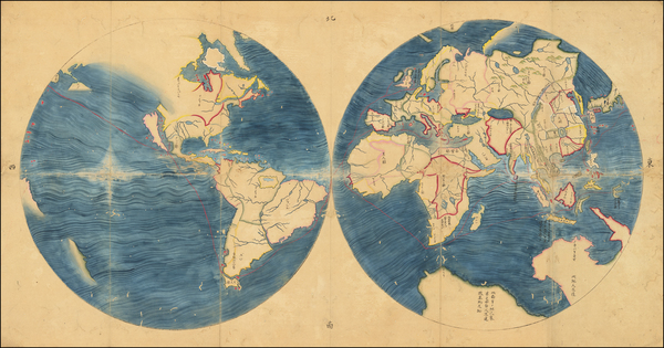 27-World Map By Willem Janszoon Blaeu / Anonymous