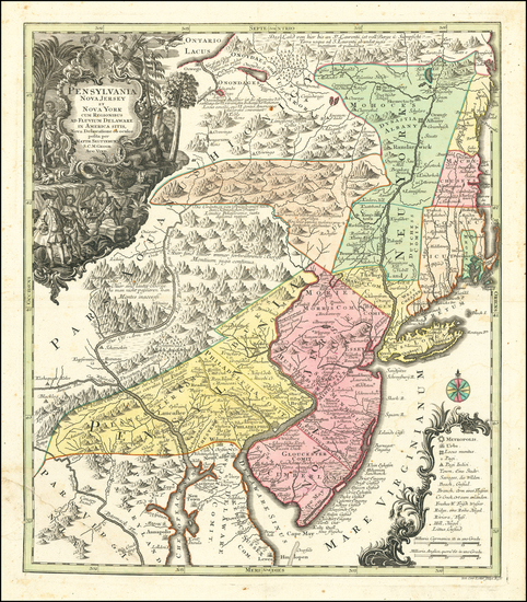 88-New York State, Mid-Atlantic, New Jersey and Pennsylvania Map By Matthaus Seutter
