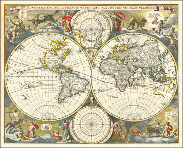 40-World and Polar Maps Map By Nicolaes Visscher I