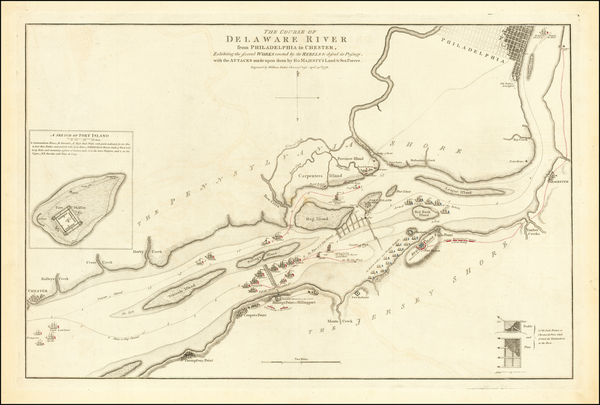 67-Mid-Atlantic, New Jersey, Pennsylvania and American Revolution Map By William Faden