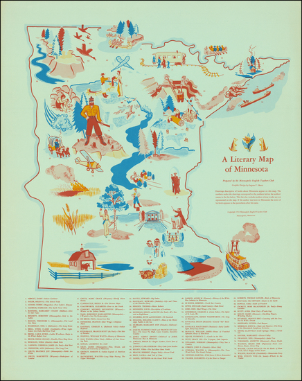 47-Minnesota and Pictorial Maps Map By Eugene V. Martz