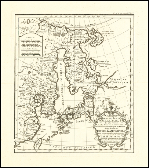 73-China, Japan, Korea and Russia in Asia Map By Jean-Baptiste Bourguignon d'Anville