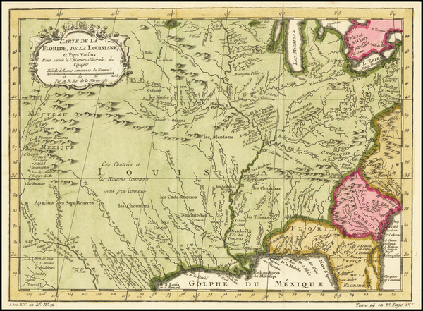 100-South, Southeast, Midwest and Southwest Map By Jacques Nicolas Bellin