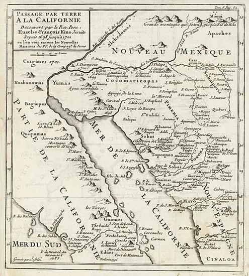 86-Southwest, Mexico, Baja California and California Map By Fr. Eusebio Kino / Inselin