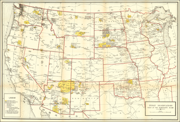 48-Texas, Midwest, Plains, Southwest, Rocky Mountains and California Map By U.S. Geological Survey