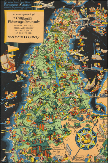 51-Pictorial Maps, California and San Francisco & Bay Area Map By Ruth Taylor White