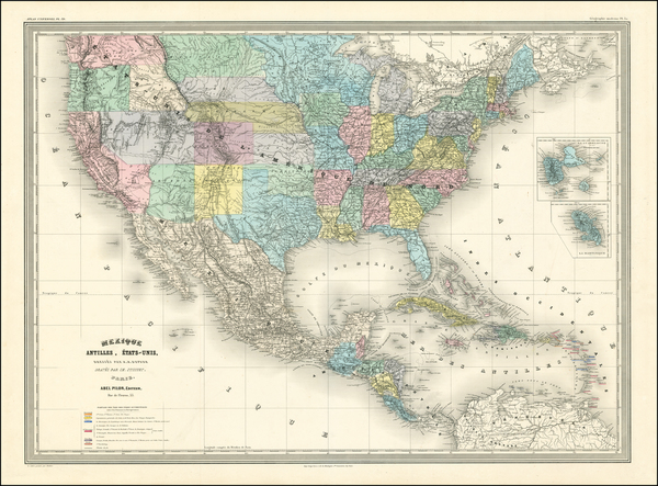 45-United States, Idaho and Montana Map By Adolphe Hippolyte Dufour