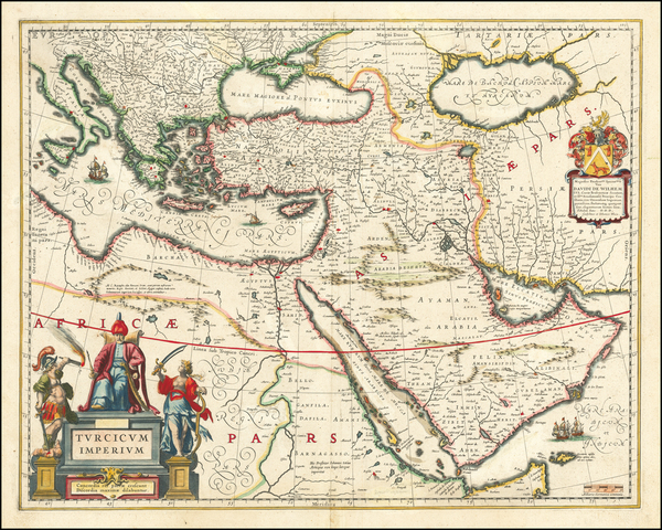 100-Turkey, Middle East, Arabian Peninsula and Turkey & Asia Minor Map By Willem Janszoon Blaeu