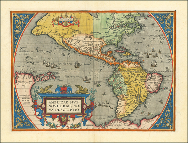46-Western Hemisphere, North America, South America and America Map By Abraham Ortelius