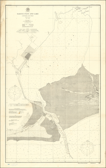 27-Louisiana and Texas Map By U.S. Coast & Geodetic Survey