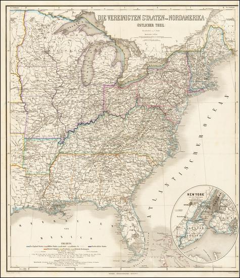 78-United States Map By Heinrich Kiepert / C. Poppey