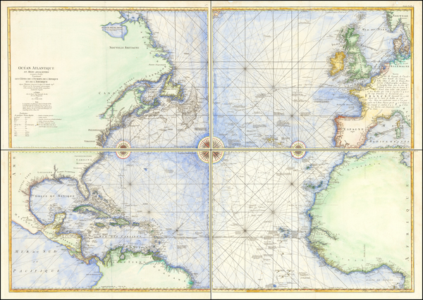 60-Atlantic Ocean and North America Map By George Louis Le Rouge