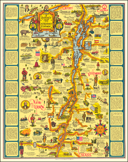 Vermont, New York State and Pictorial Maps Map By C. Eleanor Hall