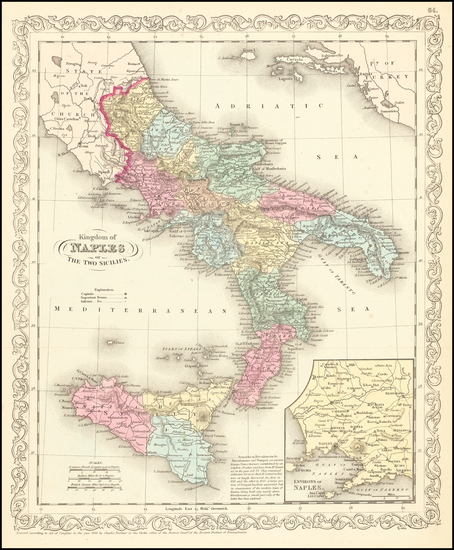 Southern Italy and Sicily Map By Charles Desilver