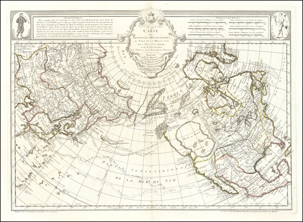 2-Polar Maps, Alaska, North America, Canada, Pacific and Russia in Asia Map By Philippe Buache /