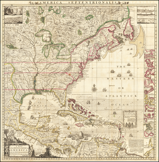 10-United States, North America and Canada Map By Henry Popple
