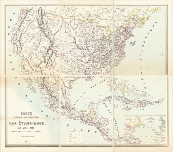 48-United States and North America Map By Jean Leon  Sanis