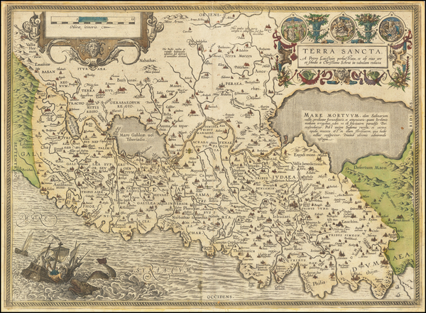 37-Holy Land Map By Abraham Ortelius