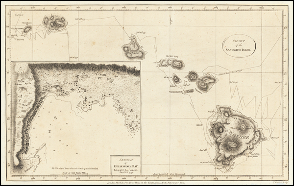 81-Hawaii and Hawaii Map By James Cook