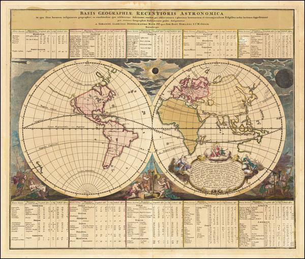 68-World and Celestial Maps Map By Johann Gabriele Doppelmayr