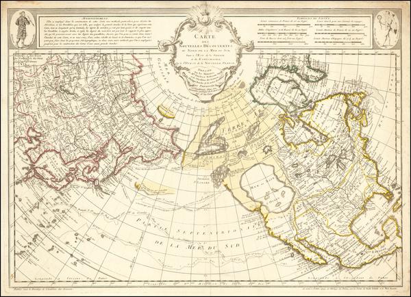 75-Polar Maps, Alaska, North America, Canada, Pacific and Russia in Asia Map By Philippe Buache /