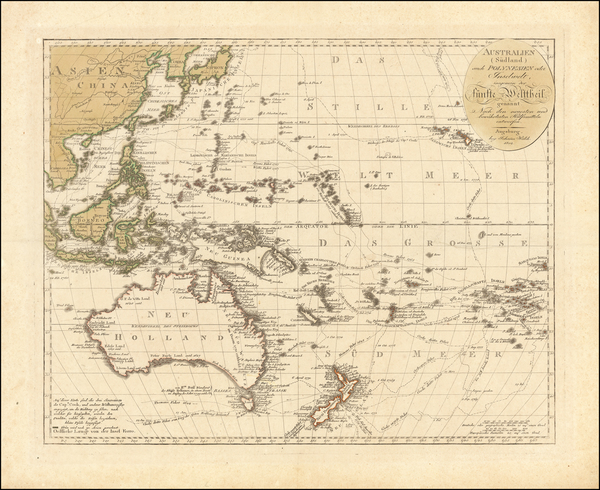 China, Southeast Asia, Philippines, Australia, Oceania and Other Pacific Islands Map By Johann Walch
