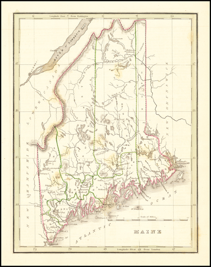69-Maine Map By Thomas Gamaliel Bradford