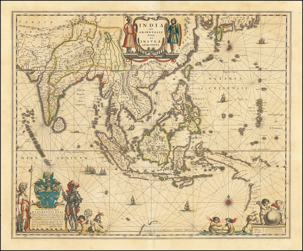 China, India & Sri Lanka, Southeast Asia and Philippines Map By Willem Janszoon Blaeu