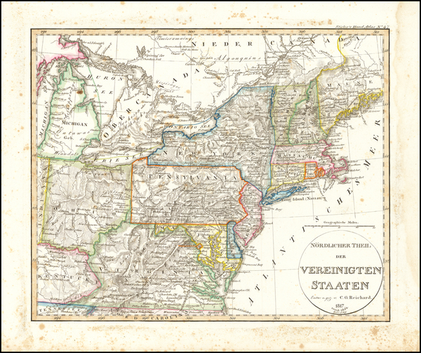 68-United States, Mid-Atlantic and Midwest Map By Adolf Stieler