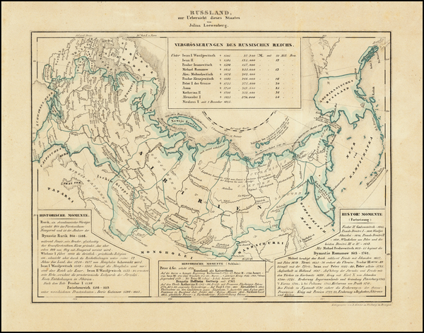 Alaska, Russia and Russia in Asia Map By Julius Loewenberg